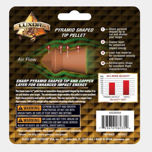 Gamo 632282054 Luxor CU Sharp Pyramid Hunting Pellets 0.177 Caliber, 150 Count